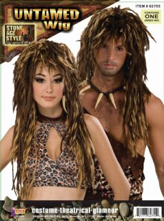 New Adult Mens Womans Wig Untamed Caveman Costume Brown Frosted Dreads