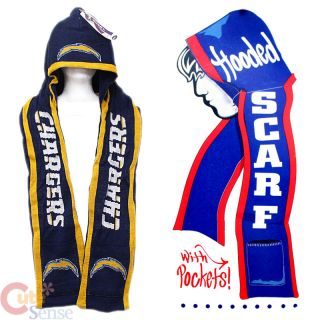 NFL San Diego Chargers Hooded Knit Scarf w Pocket Beanie Scarf All in