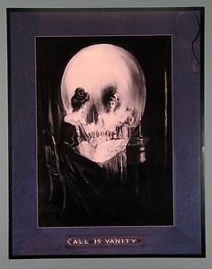 is Vanity Skull Mirror Optical Illusion 16x20 Poster Charles A Gilbert