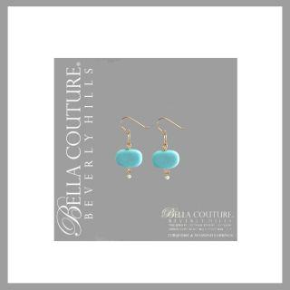 RARE Diamond Turquoise 14k Gold Chain Earrings Antique Vintage