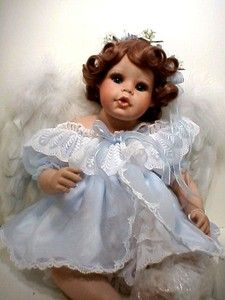 CHARISSE, Hamilton porcelain angel doll with feather wings by Phyllis