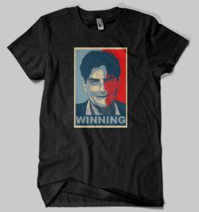 Shirt Charlie Sheen Obama Winning Tee Black Tshirt