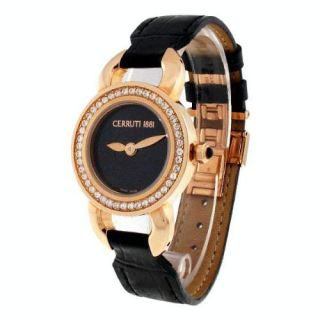 Cerruti Ladies Fiore Swarovski Crystal Swiss Watch Black Dial