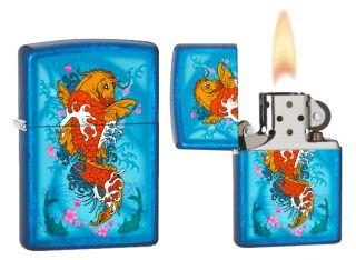 Koi Fish KIO Cerulean Blue Finish USA Genuine Windproof Zippo Lighter