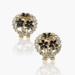 Multi Flower Diamante Charm Black Gold Plated GP Enamel Stud Earrings