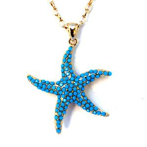 Large Nautical Blue Starfish Charm Gold Plated Fashion Necklace