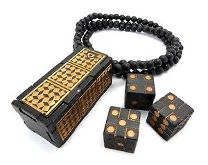 Good Quality Wood Cee Lo Game Case Pendant Dices 36 Wooden Ball Chain