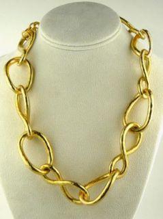 Kenneth Jay Lane Hammered Gold Twisted Link Necklace