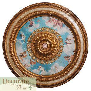 Ceiling Medallion Cherub Sky Blue Gold 47 Round Light Chandelier