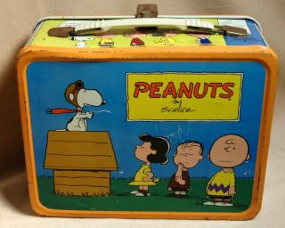 Vintage 1959 King Seely Peanuts Charlie Brown Lunch Box with Metal