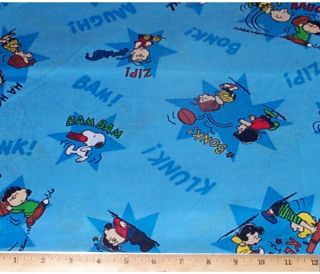 Peanuts Charlie Brown Bonk Clunk Blue Fabric Cotton 3yds