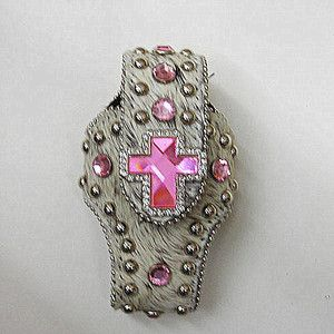 Western Cell Phone Case PINK Rhinestone Bling CROSS Concho White