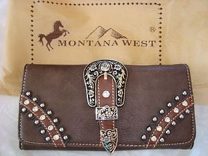 Montana West Brown Buckle Tri Fold Wallet and Matching Checkbook