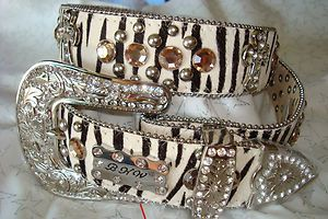 Western Cowgirl Hair on Zebra Print Rhinestone Belt Size X Large w