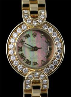 Rolex Cellini 18K Yellow Gold Ladies Mother of Pearl Diamonds RARE RRP