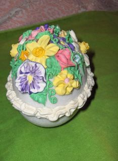 Large Vintage White Sugar Ostrich Size Egg Yellow Pink Purple Flowers