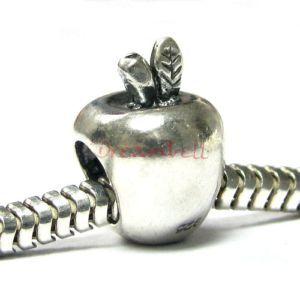 Sterling Silver Cute Apple for European Charm Bracelets