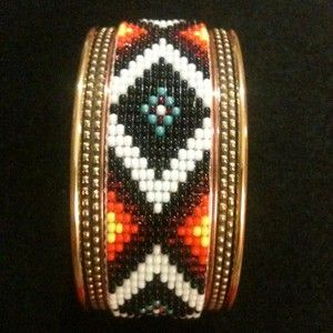 Cherokee Indian Native American Hand Beaded Cuff Bracelet Brass With