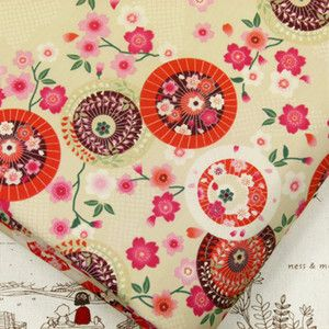 JAPANESE UMBRELLA SAKURA CHERRY BLOSSOM FLOWER 100 COTTON FABRIC J126