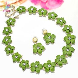 Jewelry Set Green Elegant Flower 18k Yellow Gold Plated Necklace
