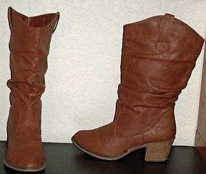 Womens Charles Albert Cognac Slouch Western Cowboy Rodeo Vegan Boots