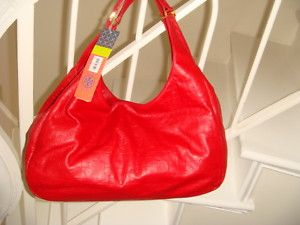 New Tory Burch Dafina Red Valentines Leather Hobo Bag