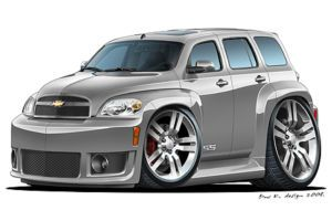 Chevrolet HHR SS Turbo Fire Cartoon Car Graphic Wall Decal Home Decor