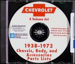 1967 1972 Chevrolet Pickup Truck Suburban Parts Book CD