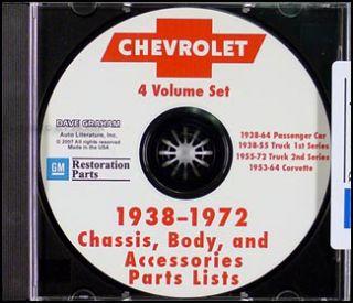 1967 1972 Chevrolet Pickup Truck Suburban Parts Book CD