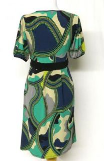 NEW Chelsea & Theodore Size S Slinky Stretch Knit GREEN Black DRESS