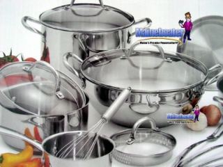 Wolfgang Puck 18pc Stainless Steel Cookware Pots Pans