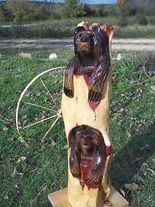 Chainsaw Carving Bear Cub Totem Pole Wood Hand Carved Rustic Decor