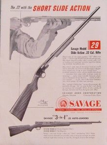 SAVAGE MODEL 29 SLIDE ACTION .22 CALIBER RIFLE AD   Chicopee Falls MA