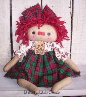 Primitive Raggedy Ann Doll Christmas Annie Joy Red Green Holly Jolly