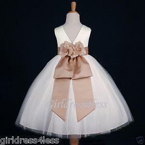 Ivory Champagne Wedding Flower Girl Dress 12M 18M 2 2T 3 4 5 6 7 8 9