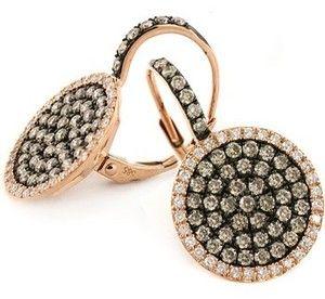 14ct Fancy Champagne Chocolate Brown White Diamond Earrings 14k Rose