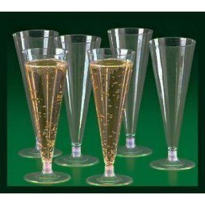 Plastic Clear 6 oz Champagne Flute Glasses 50ct