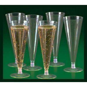 Plasic Clear 6 oz Champagne Flue Glasses 50c