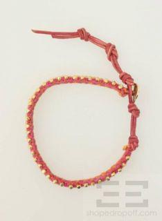 Chan Luu Pink Orange Gold Beaded Woven Bracelet