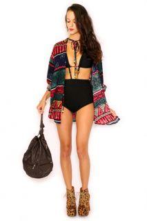 Vtg 70s 80s Hippie Boho Ethnic Aztec Ikat Festival Drawstring Dress