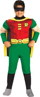 Childrens Boys Kids Age 5 7 Muscle Robin Deluxe Fancy Dress Costume