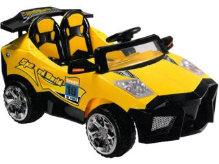 BATTERY POWERED CHILDRENS YELLOW ELECTRIC RIDE ON ATV SUPER CAR TOY
