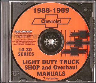 1989 Chevy CK Pickup Shop Manual Chevrolet Truck Cheyenne Scottsdale