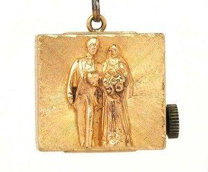 Adorable 14k Yellow Gold Wedding Music Box Charm