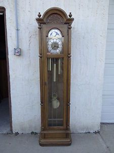 vintage ethan allen royal charter oak carved grandfathers clock sun