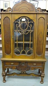 17x38x70 Large Antique Enclosed China Cabinet