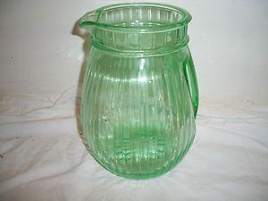 Vintage Green Depression Glass Water Pitcher W/Unusual Handle. ESTATE