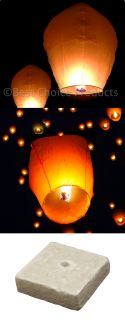 50) White Paper Chinese Lanterns Sky Fly Candle Lamp for Wish Party