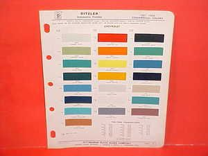 1957 1958 CHEVROLET CHEVY PICKUP TRUCK PAINT CHIPS COLOR CHART