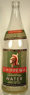 CHIPPEWA FALLS WI SPARKLING WATER BOTTLE CIRCA 1940S INDIAN